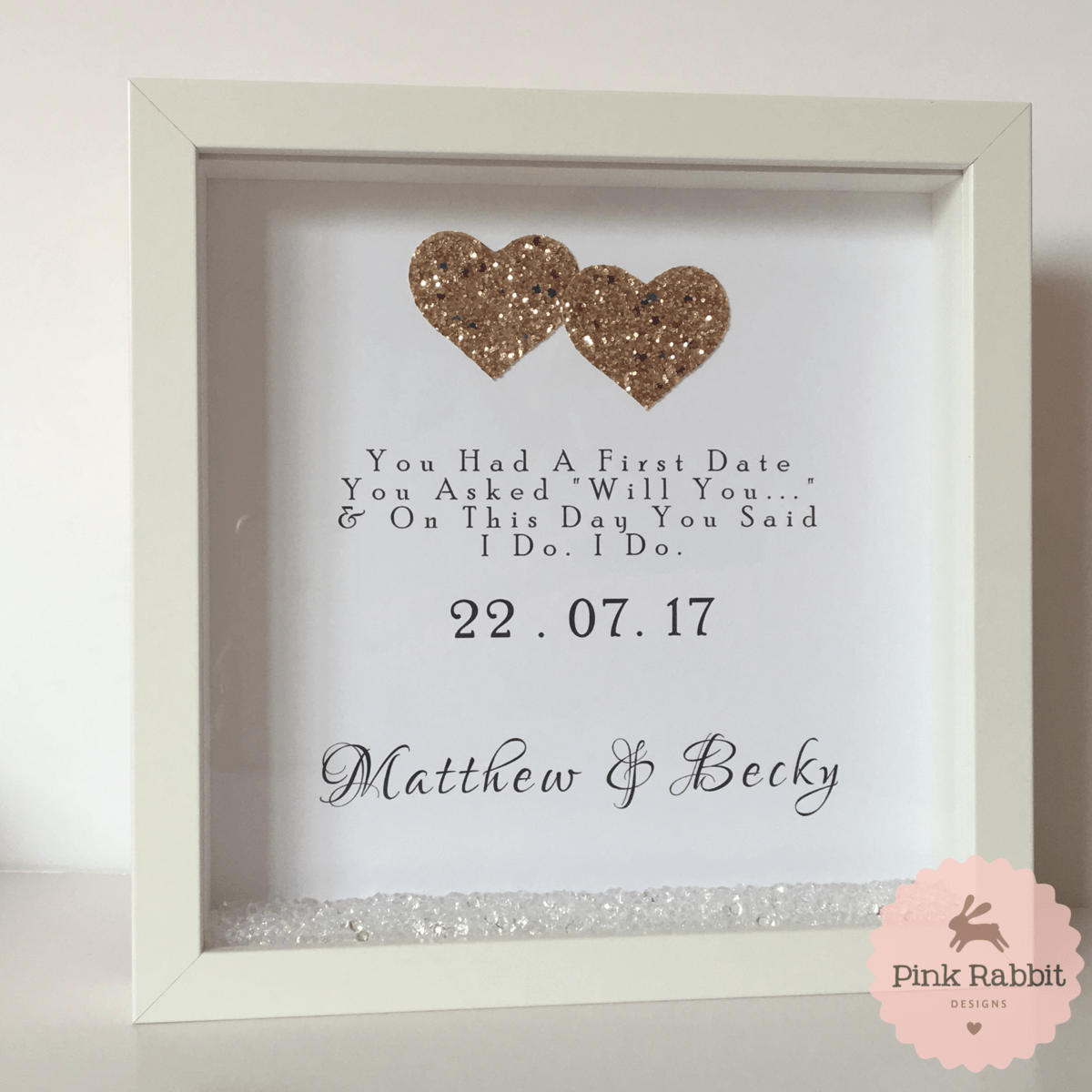 Wedding Date Frame Pink Rabbit Designs