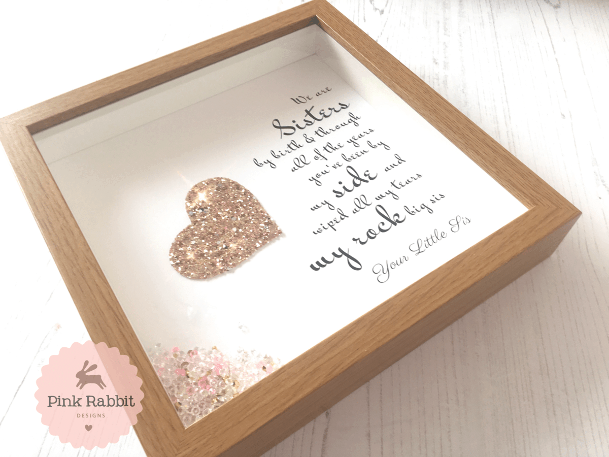 Sisters My Rock Frame Personalised Frame Pink Rabbit Designs