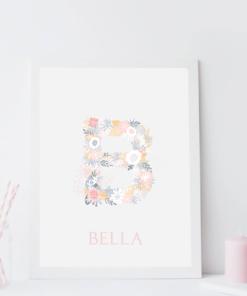 floral initial nursery print